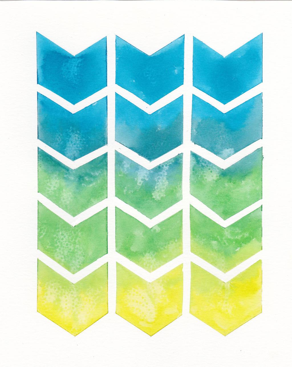Chevron Ombre Pattern Blue/Yellow/Green by GoldenSplash on ...