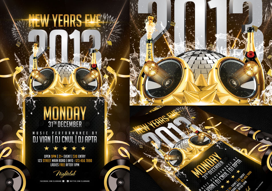 Free New Years Eve Flyer Template | TeamTracTemplate's