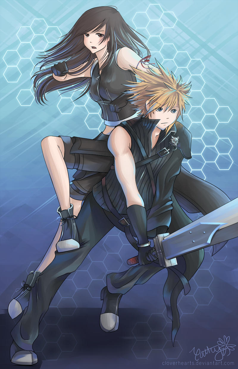 Jump Kick Ffvii S Cloud And Tifa By Cloverhearts On