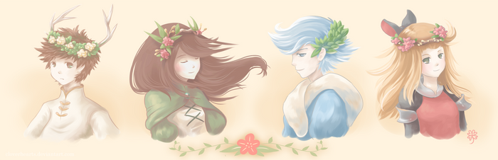Bravely Default: Flower Crowns for Spring by cloverhearts