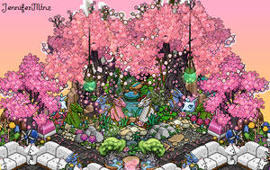 Sakura sunset fairy pond / Habbo Room by JenniferMtnz