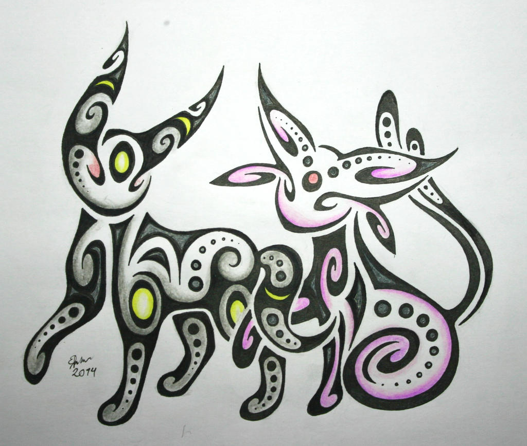 how to draw umbreon and espeon