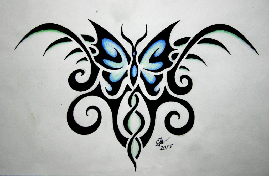 tribal butterfly tattoo design by esmeekramer on deviantart. Black Bedroom Furniture Sets. Home Design Ideas