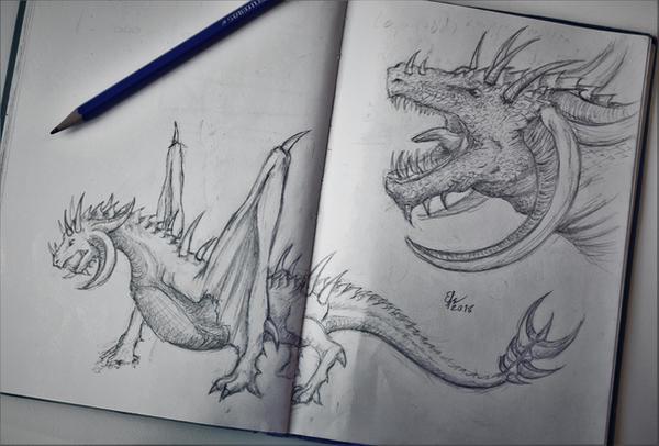 Dragon sketch by Esmeekramer