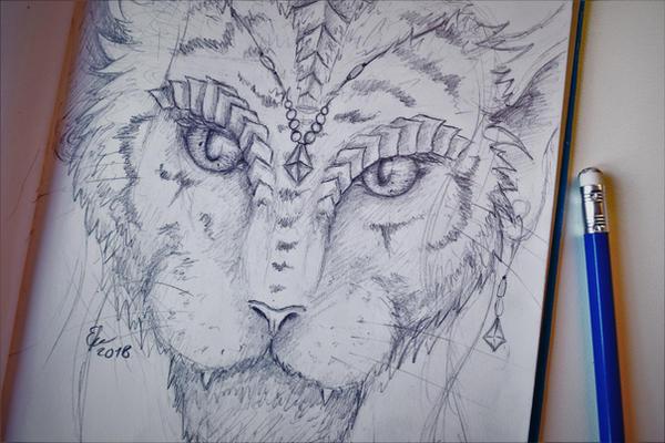 Catlike fantasy portrait by Esmeekramer
