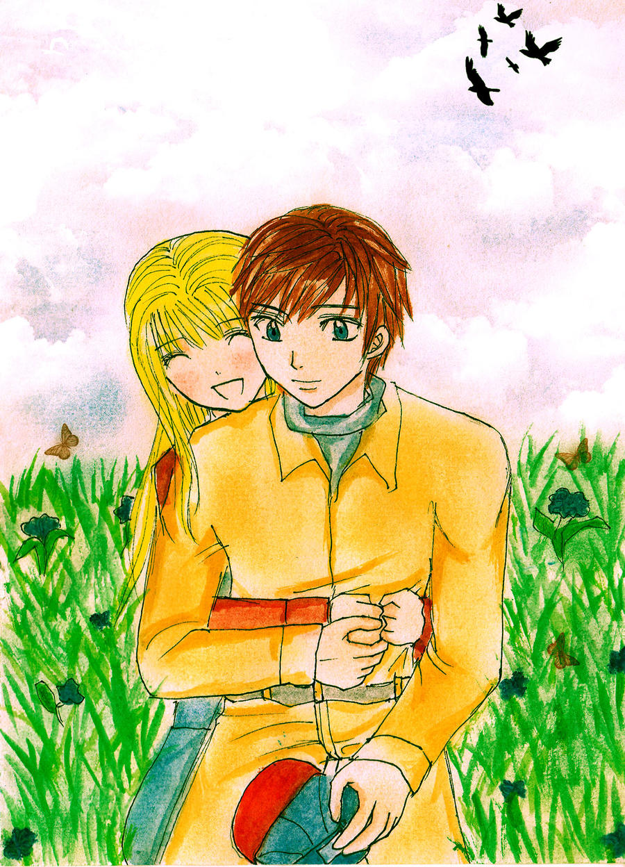 Claire and Gray at the flower field