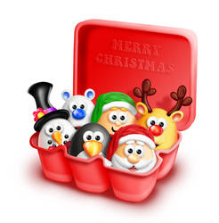 Whimsical Cartoon Eggs in Christmas Carton