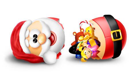 Whimsical Cartoon Egg Santa Cracked