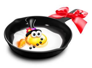 Whimsical Cartoon Egg Snowman in Frying Pan