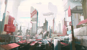 Speedpaint - Red city by JeremyPaillotin