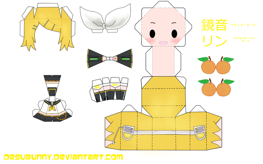 Kagamine Rin Papercraft by tsunyandere