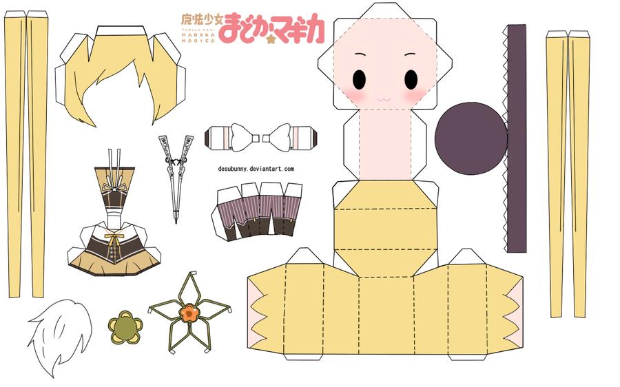 Tomoe Mami Chibi Papercraft by tsunyandere