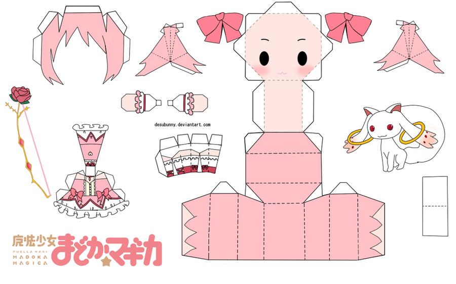 Kaname Madoka Chibi Papercraft by tsunyandere on DeviantArt