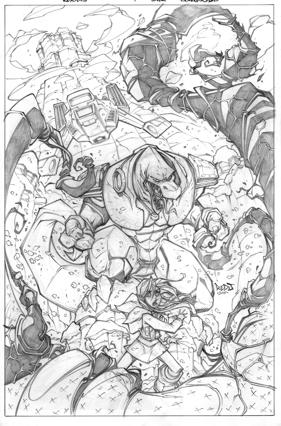 REXODUS issue 1 cover pencils by Red-J
