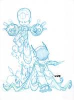 Ironman Batman Chibi team up. by Red-J