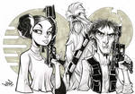 Princess Leia Han Solo and Chewie ink sketch.