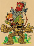 Chibi Rocket and Groot