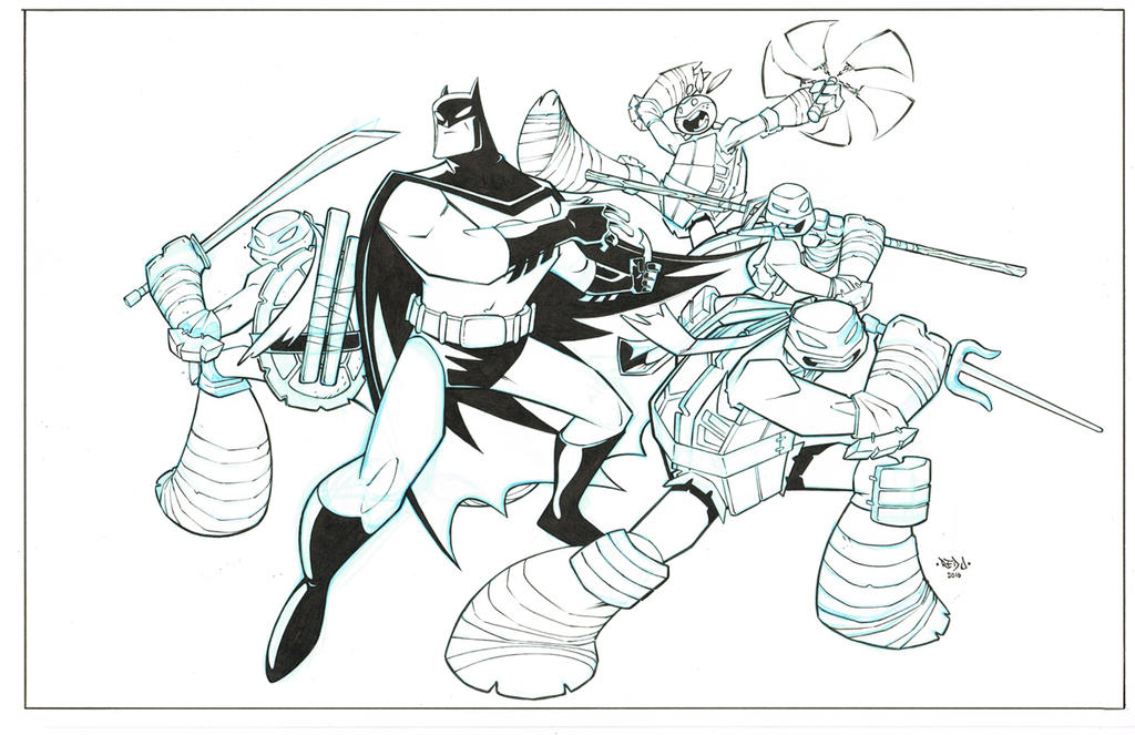 Batman TMNT promo piece inks by Red-J