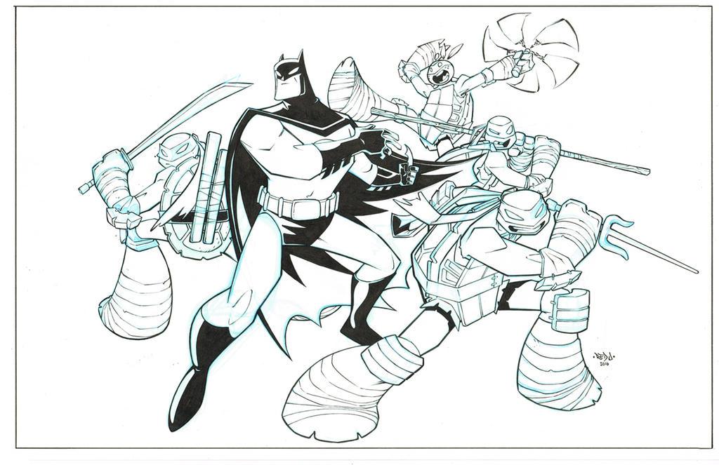 Batman TMNT promo piece inks by Red-J