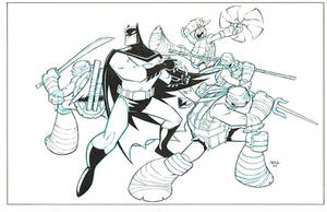 Batman TMNT promo piece inks