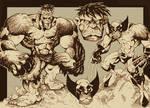 Hulk and Wolvie INKS