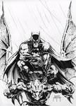 Batman on Gargoyle con sketch