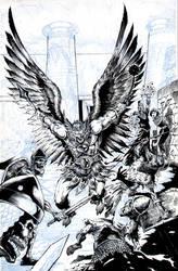 Hawkman Crypt Battle - Inking by JMan-3H