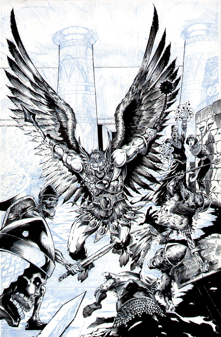 Hawkman Crypt Battle - Inking by JMan-3H