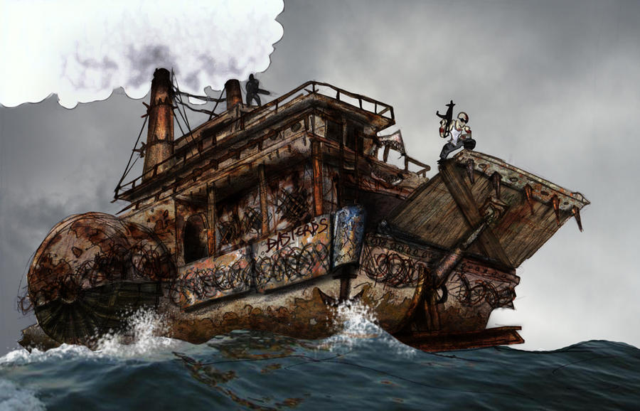 Lo Lo Steamer ~ Post apoc steamboat by wetcorps on deviantart