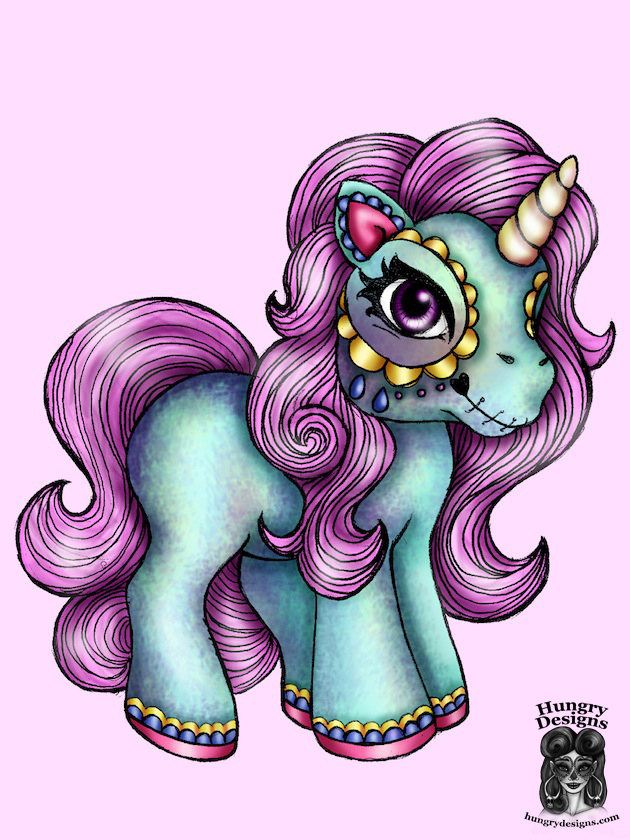 Day Of The Dead My Little Pony Unicorn By Hungrydesigns On Deviantart