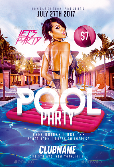 Pool Party Flyers Free Templates