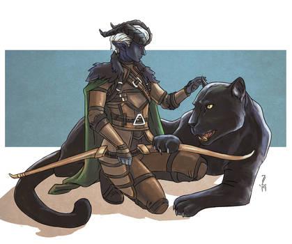 Bael - Tiefling Ranger with Panther Pet