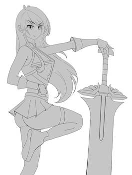 Erza Lineart Wip