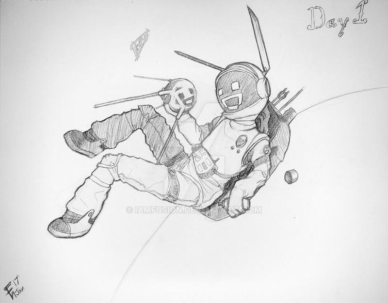 draw yourself challenge day 1 in a spacesuit by iamfusion