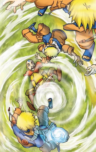 Aang vs Naruto by kostkomik