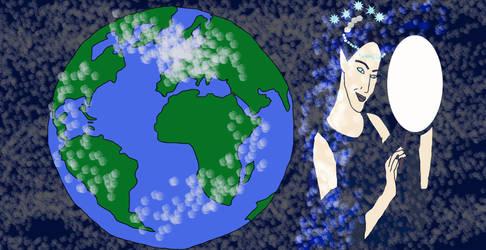 The Moon Goddess And Earth