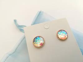 Iridescent Rainbow Mermaid Earrings