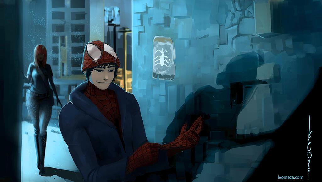 SpiderMan Manga version by leomeza