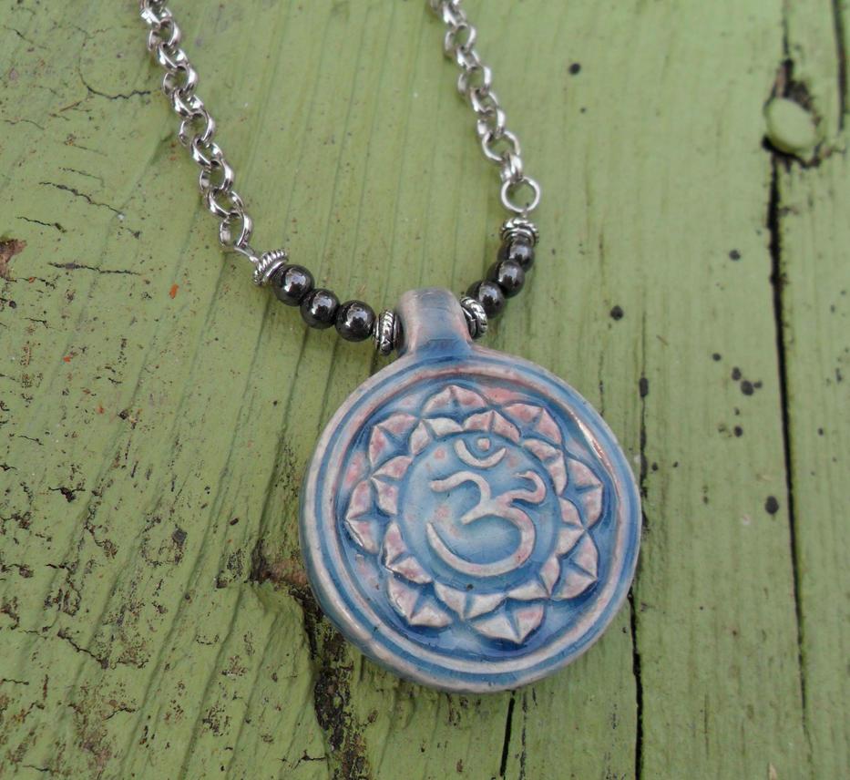Om Symbol Raku Pendant Necklace By Spiritualturtle On Deviantart