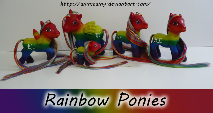 Lots of Rainbow Ponies :D by AnimeAmy