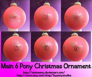 Main Six Pony Christmas Ornament by AnimeAmy