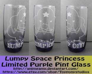 Lumpy Space Princess Limited Purple Pint Glass by AnimeAmy