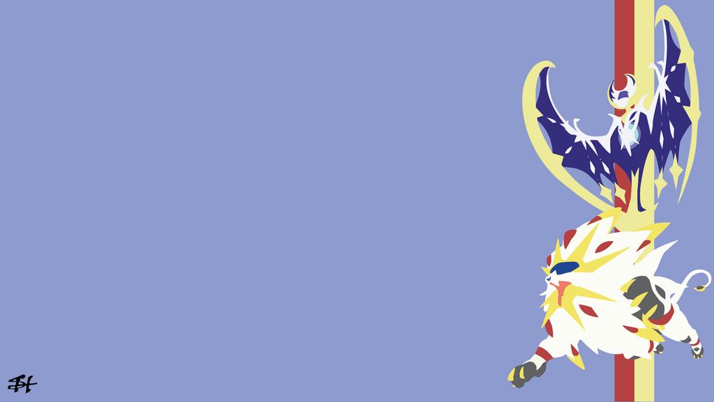 solgaleo and lunala pokemon minimalist wallpaper by