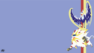Solgaleo and Lunala (Pokemon) Minimalist Wallpaper by slezzy7