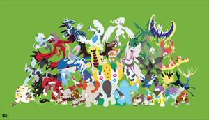 All Legendary Pokemon Minimalist Wallpaper by slezzy7