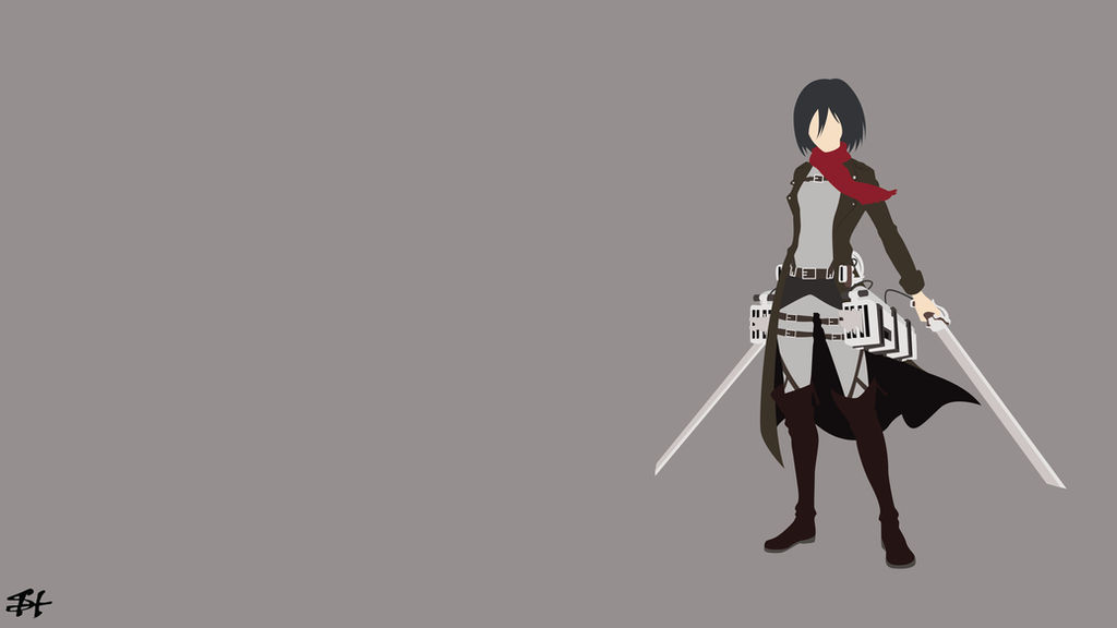 Mikasa Ackerman Aot Minimalist Wallpaper By Slezzy7 On Deviantart
