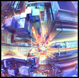 Steel Rainbow I - Mandelbulb 3D / Photoshop by FireSnake666