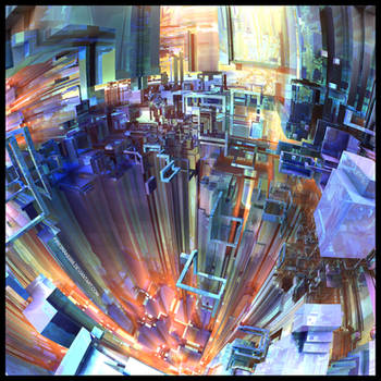 Steel Rainbow III - Mandelbulb 3D / Photoshop by FireSnake666
