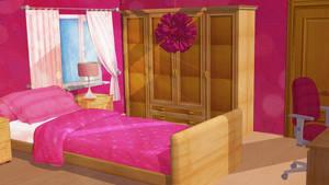Anime Style Background - Girl Bedroom by FireSnake666