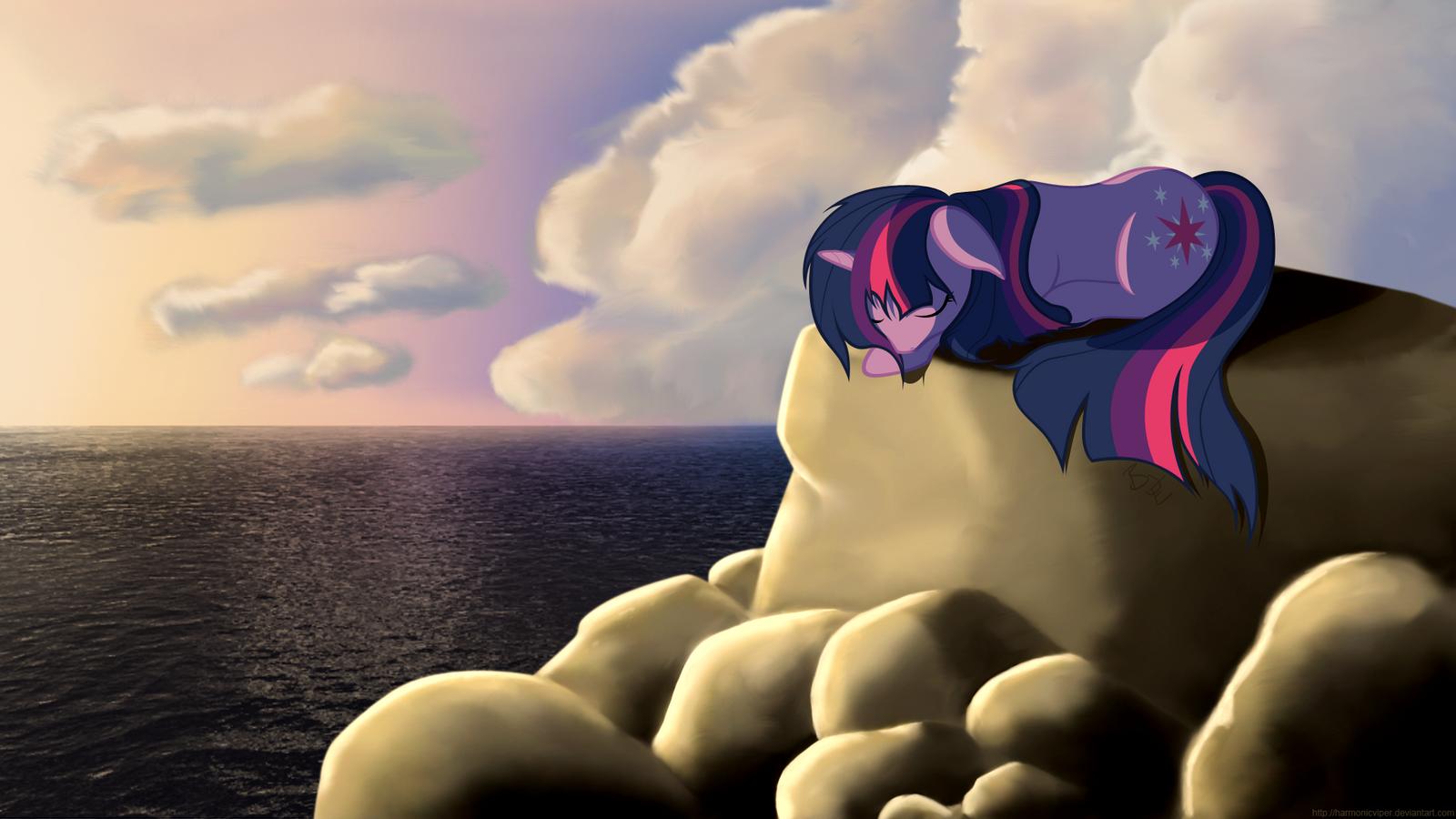 Sleeping at the Rocky Beach by HarmonicViper